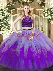 Floor Length Lace Up Quince Ball Gowns Multi-color for Military Ball and Sweet 16 and Quinceanera with Beading and Ruffles
