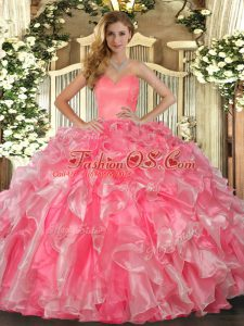 Watermelon Red Ball Gowns Sweetheart Sleeveless Organza Floor Length Lace Up Beading and Ruffles 15 Quinceanera Dress