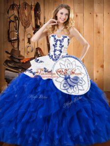 Free and Easy Strapless Sleeveless Sweet 16 Dress Floor Length Embroidery and Ruffles Blue And White Satin and Organza
