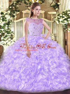 Ball Gowns Quinceanera Gowns Lavender Bateau Tulle Sleeveless Floor Length Zipper