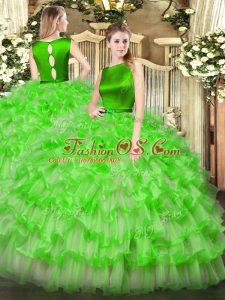 Scoop Sleeveless Quince Ball Gowns Floor Length Ruffled Layers Organza