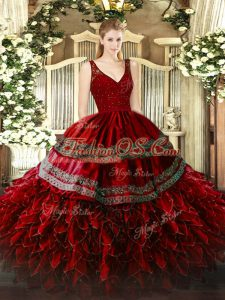Wine Red Ball Gowns V-neck Sleeveless Organza Floor Length Zipper Beading and Appliques and Ruffles Quinceanera Dress