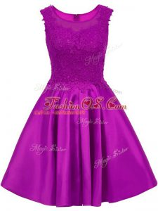 Clearance Sleeveless Mini Length Lace Zipper Bridesmaid Dresses with Eggplant Purple