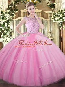 Great Tulle Sleeveless Floor Length Sweet 16 Dress and Beading