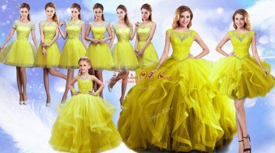 Fitting Beading and Ruffles Sweet 16 Dresses Yellow Lace Up Sleeveless Floor Length