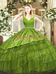 Custom Fit Olive Green Satin and Organza Zipper 15 Quinceanera Dress Sleeveless Floor Length Embroidery and Ruffled Layers