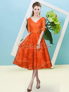 Orange Red Lace Up V-neck Bowknot Bridesmaids Dress Lace Half Sleeves