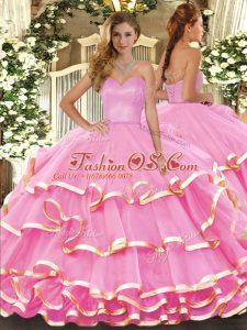 Floor Length Ball Gowns Sleeveless Rose Pink Quinceanera Gowns Lace Up