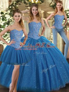Excellent Teal Ball Gowns Tulle Sweetheart Sleeveless Beading Floor Length Lace Up Quinceanera Gowns