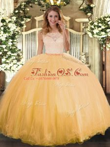 Gold Ball Gowns Tulle Scoop Sleeveless Lace Floor Length Clasp Handle Quinceanera Gowns