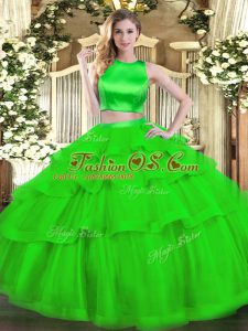 Green Sleeveless Tulle Criss Cross Sweet 16 Dresses for Military Ball and Sweet 16 and Quinceanera