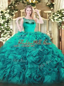 Teal Sleeveless Fabric With Rolling Flowers Zipper Sweet 16 Dress for Sweet 16 and Quinceanera