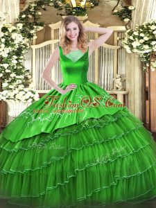 Traditional Side Zipper Quince Ball Gowns Beading and Embroidery Sleeveless Floor Length