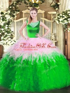 Simple Multi-color Ball Gowns Scoop Sleeveless Tulle Floor Length Side Zipper Beading and Ruffles Quinceanera Gowns