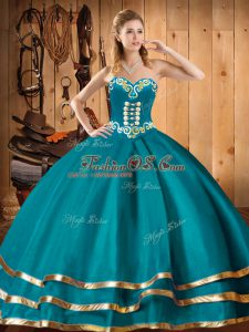 Teal Ball Gowns Sweetheart Sleeveless Organza Floor Length Lace Up Embroidery Sweet 16 Dress