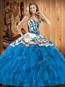 Teal Tulle Lace Up Quinceanera Gowns Sleeveless Floor Length Embroidery and Ruffles