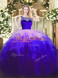 Superior Scoop Sleeveless Sweet 16 Dress Floor Length Beading and Ruffles Multi-color Tulle