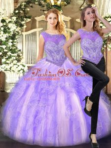 Unique Lilac Vestidos de Quinceanera Military Ball and Sweet 16 and Quinceanera with Beading and Ruffles Scoop Sleeveless Zipper