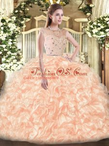 Tulle Bateau Sleeveless Zipper Beading and Ruffles Sweet 16 Dresses in Champagne
