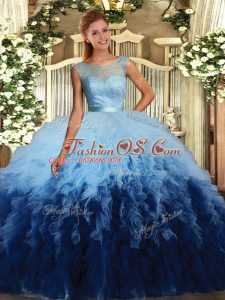 Glorious Floor Length Multi-color Quinceanera Dress Tulle Sleeveless Beading and Ruffles