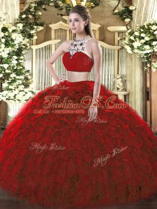 Top Selling Tulle Sleeveless Floor Length Sweet 16 Dresses and Beading and Ruffles
