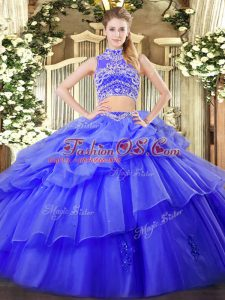 Lovely Tulle Sleeveless Floor Length Sweet 16 Dresses and Beading and Ruffles and Pick Ups
