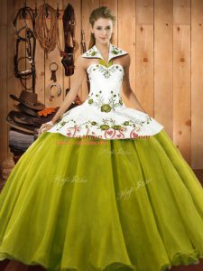 Halter Top Sleeveless Quinceanera Dress Floor Length Embroidery Olive Green Satin and Tulle