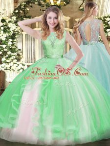 Great Apple Green Organza Backless Quince Ball Gowns Sleeveless Floor Length Lace and Ruffles