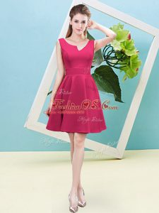 Fantastic Sleeveless Satin Mini Length Zipper Bridesmaid Dresses in Hot Pink with Ruching