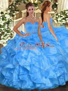 Baby Blue Ball Gowns Organza Sweetheart Sleeveless Beading and Ruffles Floor Length Lace Up Sweet 16 Quinceanera Dress