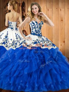 Blue Sweet 16 Quinceanera Dress Military Ball and Sweet 16 and Quinceanera with Embroidery and Ruffles Sweetheart Sleeveless Lace Up