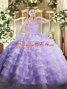 Luxury Lavender Zipper Straps Beading and Ruffled Layers Sweet 16 Dresses Organza Sleeveless