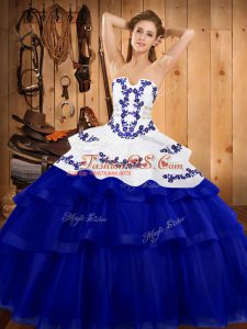 Trendy Royal Blue Sleeveless Tulle Sweep Train Lace Up Ball Gown Prom Dress for Military Ball and Sweet 16 and Quinceanera