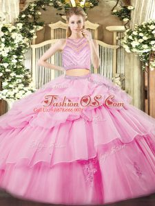Flirting Rose Pink Sleeveless Tulle Zipper Quinceanera Dresses for Military Ball and Sweet 16 and Quinceanera