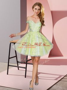 Tulle Off The Shoulder Sleeveless Zipper Appliques Bridesmaids Dress in Yellow Green