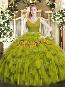 Fancy Olive Green Ball Gowns V-neck Sleeveless Tulle Floor Length Zipper Beading and Ruffles Quinceanera Gowns