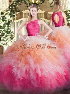 Attractive Multi-color Sleeveless Floor Length Lace and Ruffles Zipper Sweet 16 Quinceanera Dress