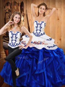 Pretty Sleeveless Embroidery and Ruffles Lace Up 15 Quinceanera Dress