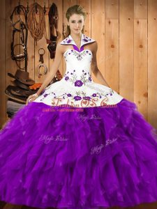 Eggplant Purple Ball Gowns Satin and Organza Halter Top Sleeveless Embroidery and Ruffles Floor Length Lace Up Sweet 16 Dresses