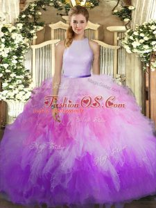 High-neck Sleeveless Sweet 16 Dresses Floor Length Ruffles Multi-color Tulle