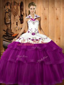 Organza Sleeveless Sweet 16 Quinceanera Dress Sweep Train and Embroidery and Ruffled Layers