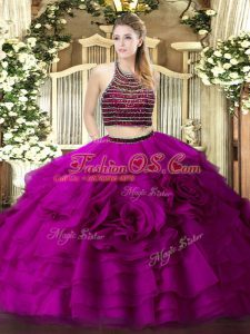 Suitable Floor Length Fuchsia Sweet 16 Dress Halter Top Sleeveless Zipper