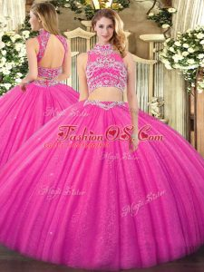 High Quality Floor Length Hot Pink 15th Birthday Dress Tulle Sleeveless Beading