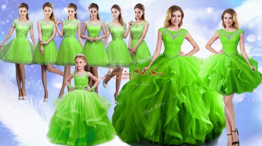 Super Sleeveless Beading and Ruffles Floor Length Quinceanera Gowns