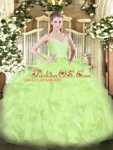 Yellow Green Ball Gowns Sweetheart Sleeveless Organza Floor Length Lace Up Beading and Ruffles 15 Quinceanera Dress