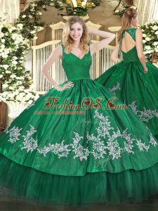 Artistic Sleeveless Taffeta Floor Length Zipper 15th Birthday Dress in Dark Green with Beading and Appliques