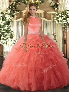 Stylish Orange Red Ball Gowns Beading and Ruffles Sweet 16 Quinceanera Dress Backless Organza Sleeveless Floor Length