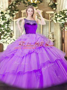 Floor Length Ball Gowns Sleeveless Lavender Quinceanera Dresses Zipper