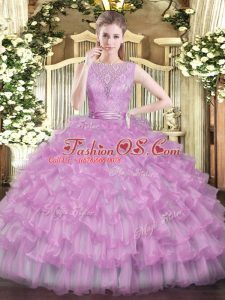 Affordable Lilac Tulle Backless 15 Quinceanera Dress Sleeveless Floor Length Beading and Ruffled Layers