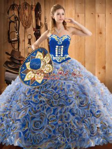 With Train Multi-color 15th Birthday Dress Sweetheart Sleeveless Sweep Train Lace Up